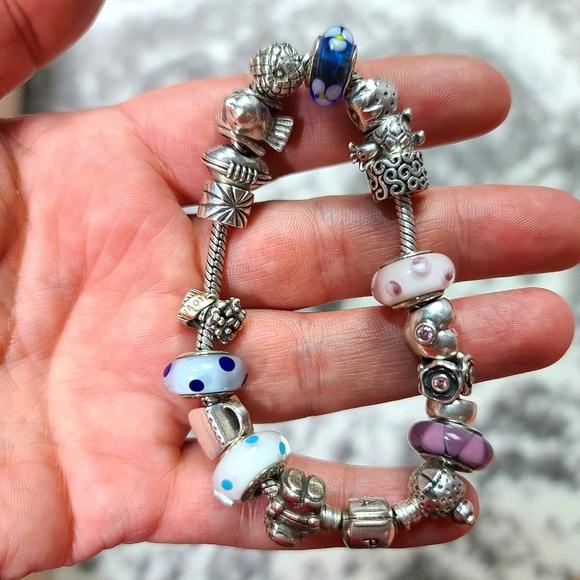 Pandora Snake Bracelet With 19 Pandora Charms